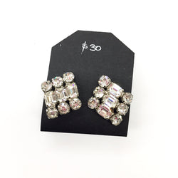 Vintage White Clear Cluster Square Rhinestone Earrings