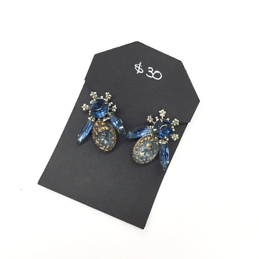 Vintage Blue Bumble Bee Rhinestone Earrings