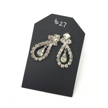 Vintage Fabulous Drop Chandelier Rhinestone Earrings