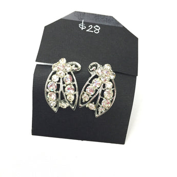 Vintage Rhinestone Floral Earrings