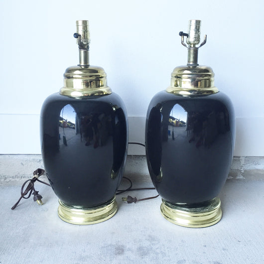 Pair of Black Chinoiserie Ginger Jar Lamps