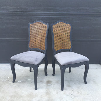 Pair of Hollywood Regency Cane Back Slate Gray Chairs