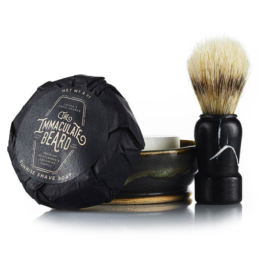 The Immaculate Beard Men's Shave Kit | Shave Puck, Boar's Hair Brush & Bowl