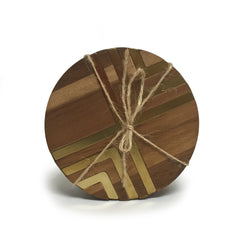 Chevron Patterned Brass Inlay Wood Coasters with Cork Backing (Set of 4)