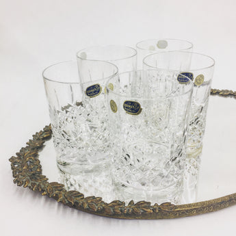 Set of Czech Bohemia Glass Crystal Whiskey Tumblers (5)