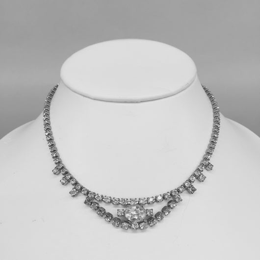 Vintage White Clear Rhinestone Choker Necklace
