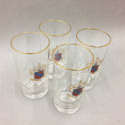 Crested Gold Lined Beer Glasses