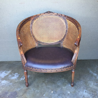 Ornate Cane Back Chair With Ottoman