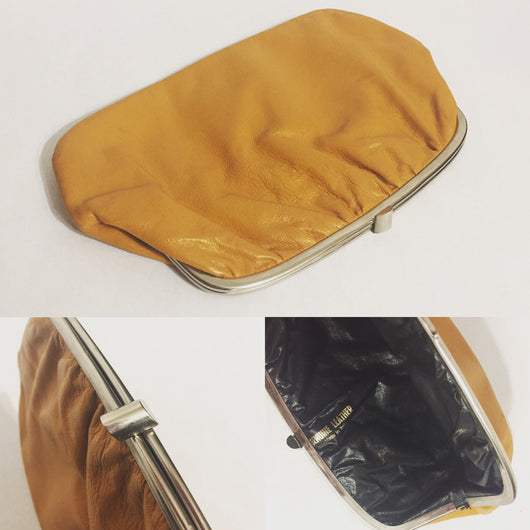 Vintage Tan Leather Clutch With Snap Closure