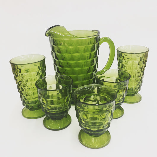 Indiana Glass Green Pitcher and Glasses
