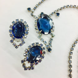Blue Rhinestone Set Earrings and Necklace Wedding Jewelry