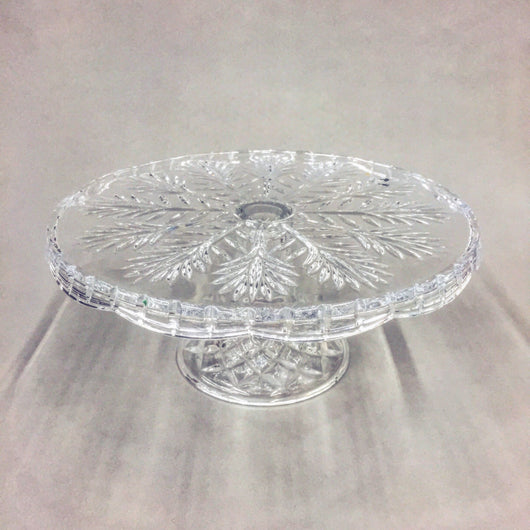 Pressed Glass Snowflake Pattern Cake Stand