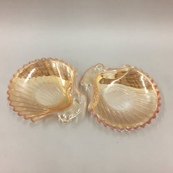 Vintage Fire King Peach Luster Shell Scalloped Plates (2)