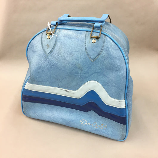 Vintage Blue Brunswick Bowling Bag with Ball and Rack