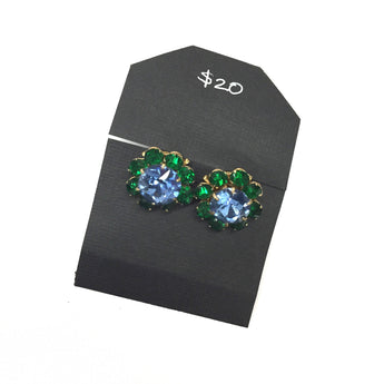 Vintage Blue and Green Cluster Rhinestone Earrings