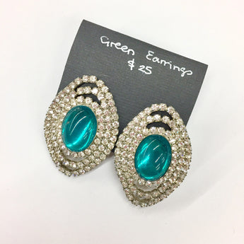 Vintage Green & White Rhinestone Oval Earrings