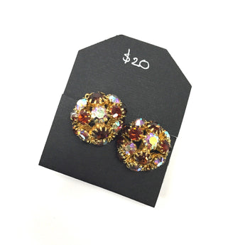Vintage Domed Red, Amber Cluster Rhinestone Earrings