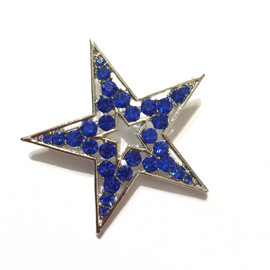 Blue Dallas Rhinestone Star Pin