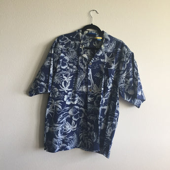 Vintage Men's Blue and White Hawaiian Shirt Size L