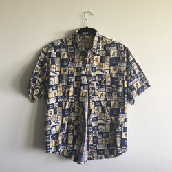 Vintage Men's Blue and Yellow Hawaiian Shirt Size L