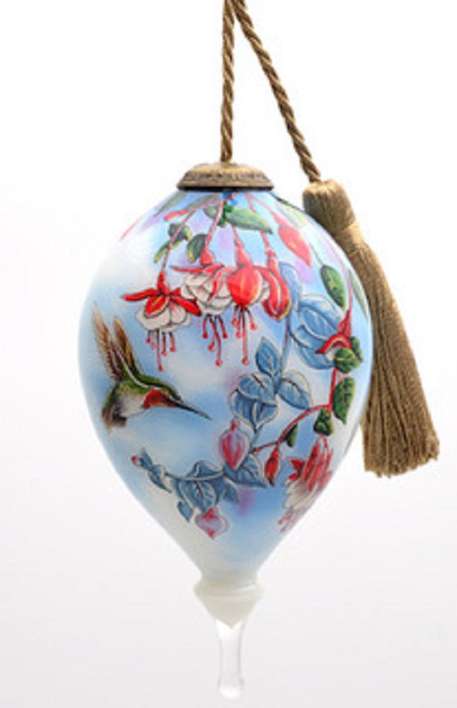 Broadtail Hummingbird and Fuchsia Hand Painted Christmas Ornament