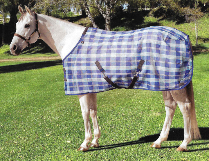 Fly Mask w/ Webbing Trim Size: L-Large Color: 2017- Lavender Mint Plaid - Freedom Day Sales