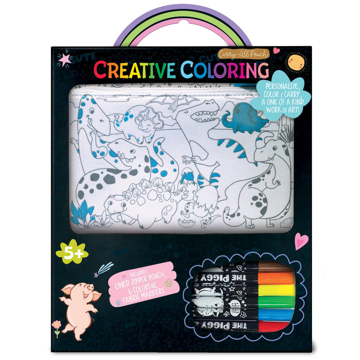 The Piggy Story - Creative Coloring: Carry All Pouch- Dinosaur World