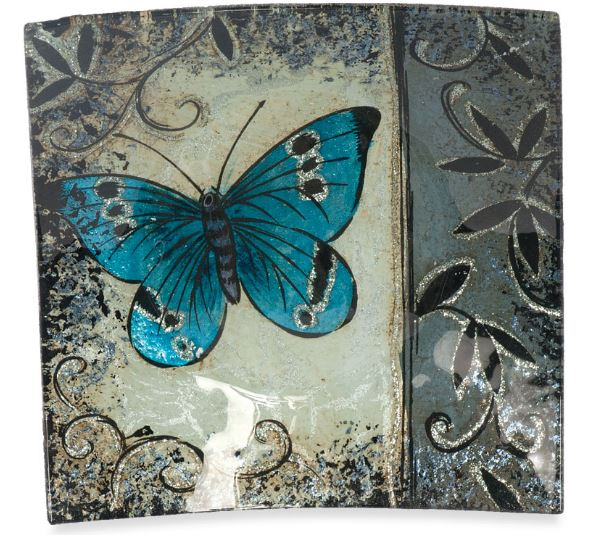 Angelstar Cozenza Collection Blue Butterfly Square Plate 6.5