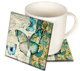 Angelstar Cozenza Collection Radiant Butterfly Coaster Set-4""