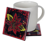 Angelstar Cozenza Collection Vibrant Poinsettia Coaster Set-4""
