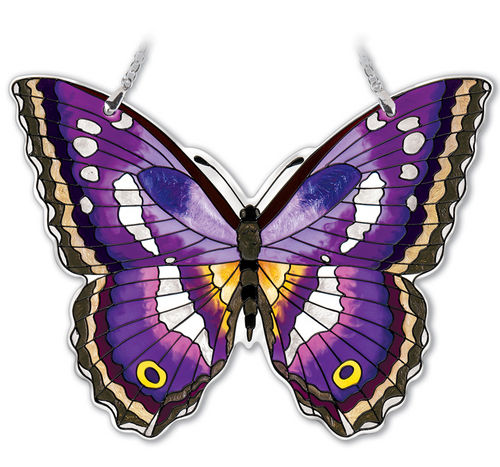 Large Purple Emperor Butterfly Suncatcher 7 inch