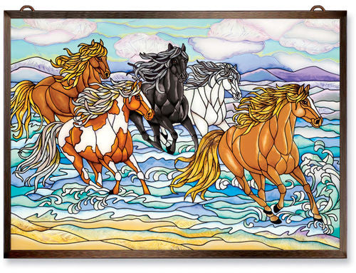 Wild Mustangs Small Glass Panel