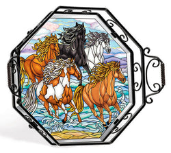 Beveled Glass Octogon tray- Wild Mustangs