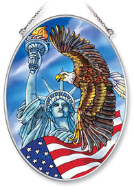 Medium Oval Sun Catcher Liberty Eagle