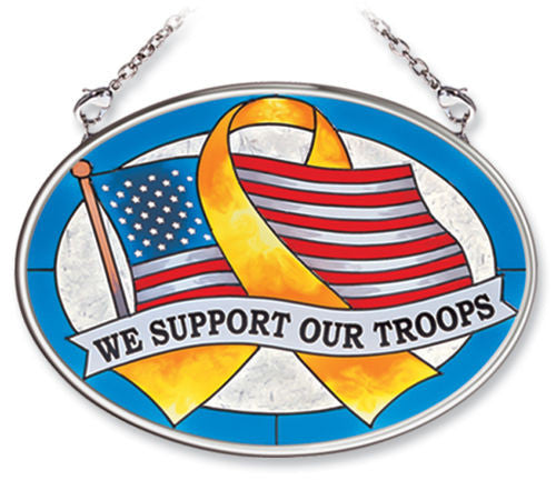 Small Oval Suncatcher We Support Our Troops