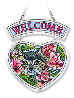 Beveled Heart Suncatcher Sam the Cat
