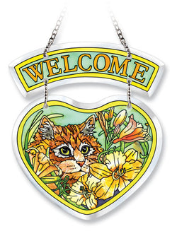 Beveled Heart Suncatcher Ginger the Cat