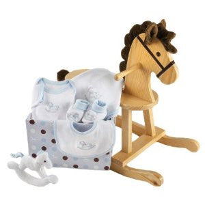 Rockaby Baby Rocking Horse with Plush Toy and Layette Gift Set BLUE