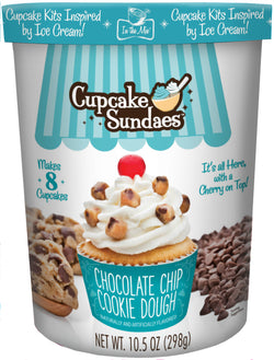 Chocolate Chip Cookie Dough Cupcake Sundaes