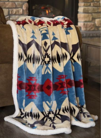 Carstens Cream & Blue Southwestern River Fleece Throw