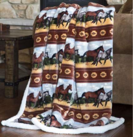 Carstens Horses Fleece Throw