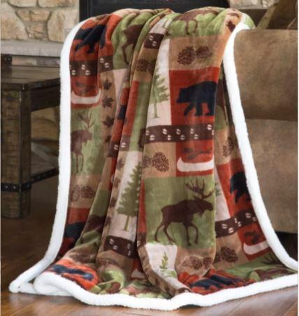 Carstens Patchwork Lodge Fleece Throw