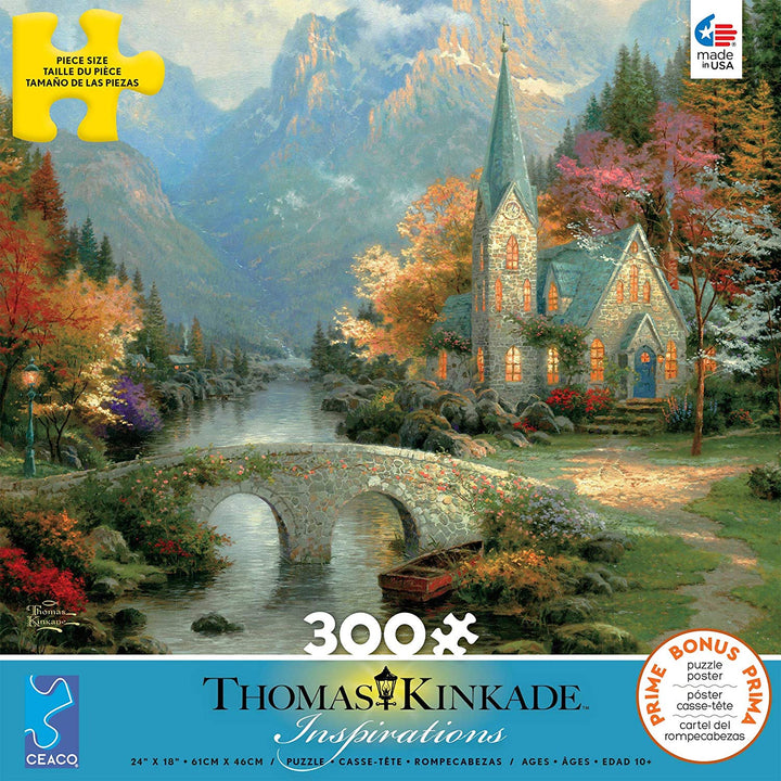 300 Piece Oversized Thomas Kinkade Inspirations Puzzle- Mountain Chapel