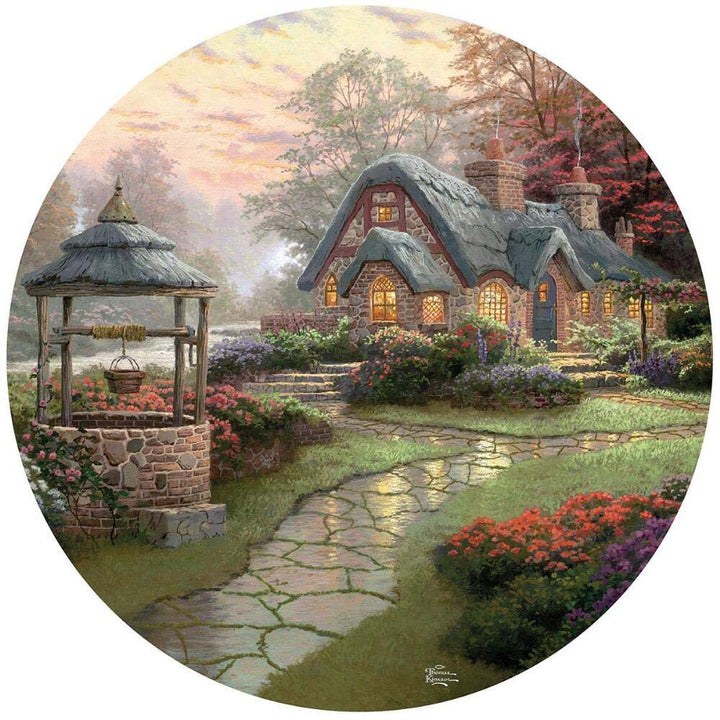 500 Piece Round Thomas Kinkade Puzzle- Make a Wish Cottage