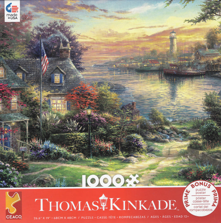 1000 Piece Thomas Kinkade Puzzle-New England Harbor