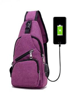 Anti Theft with USB Charging Sling Bag Day Pack- Pink