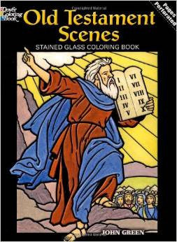 Old Testament Scenes Stained Glass Coloring Book by John Green