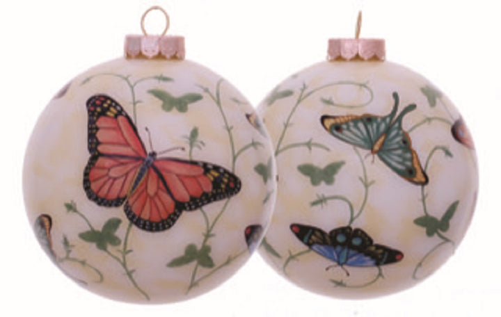 Butterflies Hand Painted Christmas Ornament