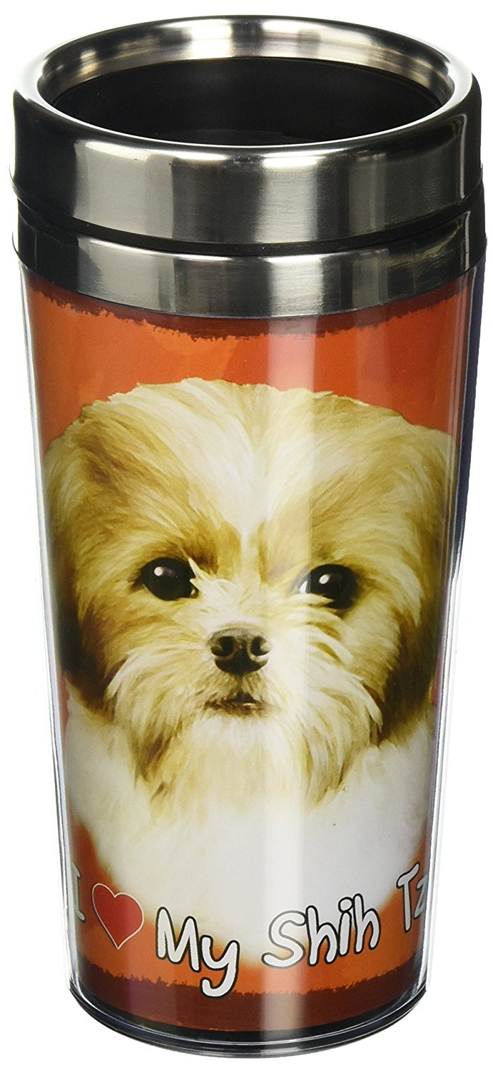Tan Shih Tzu Thermos Travel Tumbler Mug