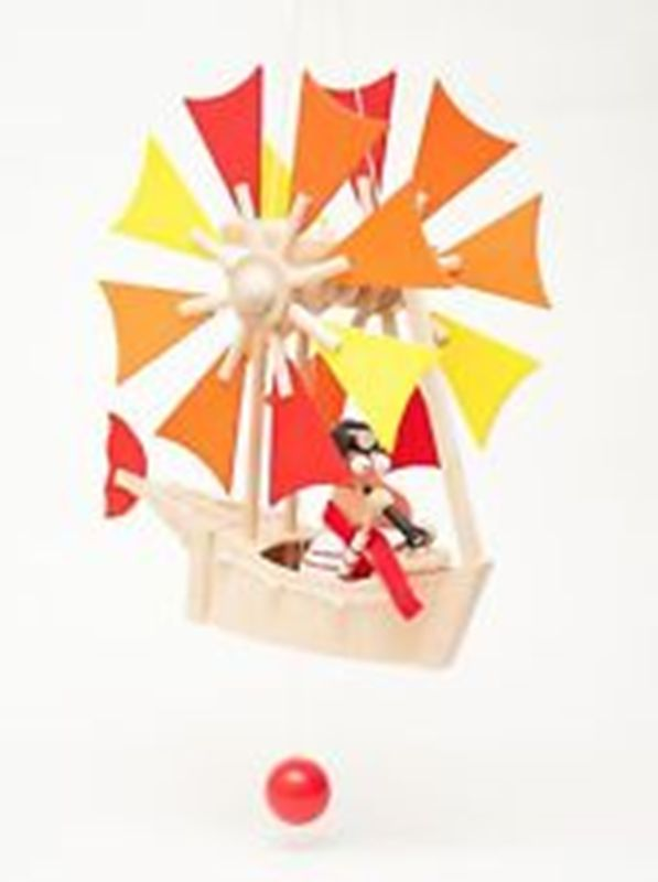 Wupper Airlines Small Red Wooden Windwheel Man in Boat - Freedom Day Sales